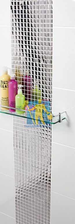 ceramic tile in shower flat gloss white with designer pattern Brisbane