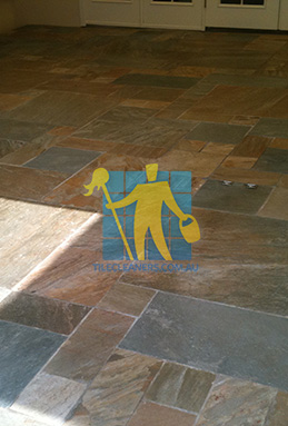 clean slate tiles unsealed after stripping and cleaning Western Suburbs cleaning