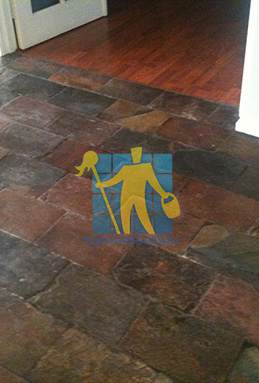 dirty and dull looking slate tiles requires stripping and sealing Western Suburbs cleaning