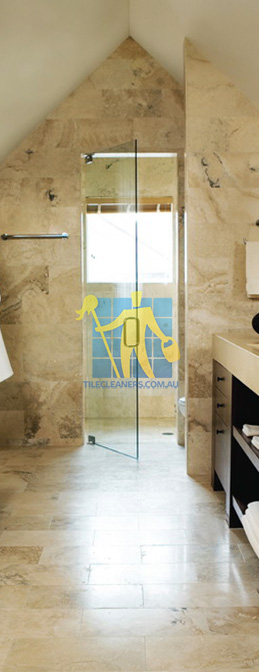 travertine tiles bathroom floor wall shower with dark veining Brisbane