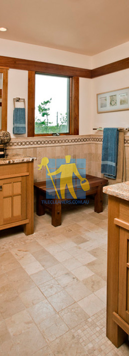 travertine tiles floor bathroom tumbled with mosaic corner wooden cabinets Brisbane