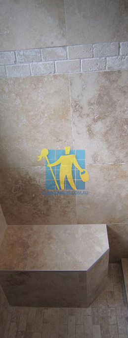 travertine tiles floor wall bathroom natural stone shower with seat Brisbane